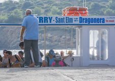 Dragonera ferry with tourists Royalty Free Stock Images