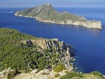 Dragonera Island, Mallorca, Spain. View of the Dragonera island, from the monastery of La Trappa Stock Photography