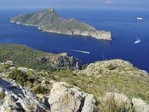 Dragonera Island, Mallorca, Spain. View of the Dragonera island, from the monastery of La Trappa Royalty Free Stock Image