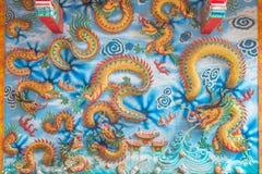 Dragones chinos en la pared pública del templo Fotos de archivo libres de regalías