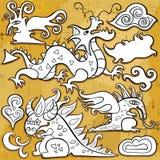 Dragones, conjunto del icono Fotografía de archivo