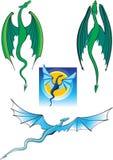 Dragones de vuelo. Varios diversos dragones Imágenes de archivo libres de regalías