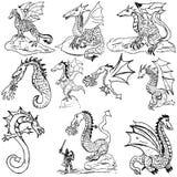 Dragones del Doodle Imagenes de archivo
