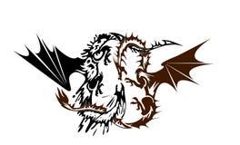 Dragones en batalla ilustración del vector
