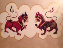 Dragones gemelos, leones gemelos, monstruo de la quimera, mitología stock de ilustración