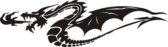 Dragones horizontales. Foto de archivo