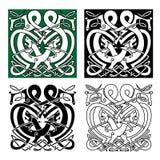 Dragones que luchan con los ornamentos célticos del nudo Foto de archivo libre de regalías