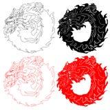 Dragones redondos ilustración del vector