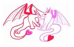 Dragones rojos y rosados del corazón, el día de tarjeta del día de San Valentín Imagen de archivo libre de regalías