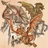Dragones - un vector dibujado mano Línea arte Fotografía de archivo libre de regalías