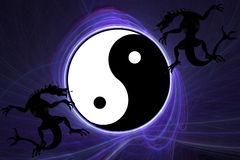 Dragones y Ying Yang stock de ilustración