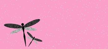 2 dragonflies на розовой иллюстрации космоса 3D экземпляра предпосылки стоковое фото rf
