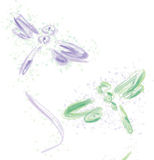 Dragonflies. Set of two color dragonflies. Vector illustration Royalty Free Stock Photo