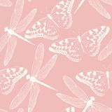 Dragonflies and butterflies seamless background. High detailed butterflies and dragonflies vector seamless background royalty free illustration