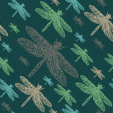 Dragonflies colourful seamless  pattern Royalty Free Stock Image
