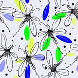 Dragonflies in flight with iridescent wings. In pink, blue, yellow, green, purple and black colors seamless pattern on white background royalty free illustration