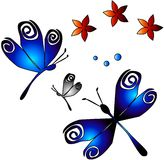 Dragonflies & Flowers. Dragonflies, flowers and pearl balls in perfect harmony stock illustration
