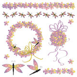 Dragonflies and Flowers Royalty Free Stock Photos