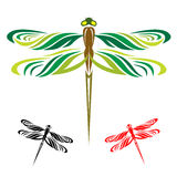 Dragonflies fly. Dragonflies are three wings on a white background Stock Photos