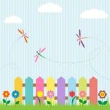dragonflies kwiaty royalty ilustracja