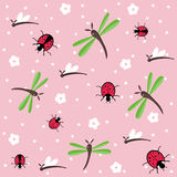 Dragonflies and ladybugs seamless floral pattern Royalty Free Stock Photography