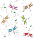 Dragonflies Pattern. Vector pattern of colorful dragonflies. Eps10 Stock Photos