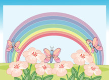 Dragonflies and rainbow Stock Image