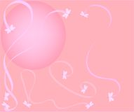 Dragonflies and ribbons. Pink moon background with dragonflies swirling ribbons Vector Illustration