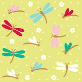 Dragonflies seamless floral pattern Stock Photo