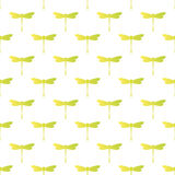 Dragonflies seamless pattern. Cute Seamless Pattern. Repetitive Texture with Isolated Dragonflies Silhouettes on White Background.  Vector Fashion Background Stock Image