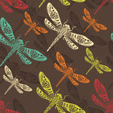 Dragonflies seamless pattern Stock Photography