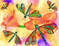 Dragonflies. Vibrant dragonflies watercolor painting with flowers background Stock Photography
