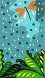 Dragonfly в дожде Стоковые Фото
