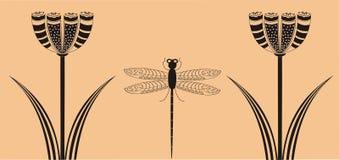 dragonfly цветет ornamental Стоковое Изображение