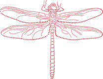 Dragonfly. Rhinestones/ outline dots of a dragonfly stock illustration