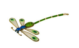 Dragonfly. Made from glass and silver - brooch, jewelery royalty free stock image