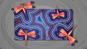 Dragonfly aboriginal art vector painting. Illustration based on aboriginal style of landscape background Stock Images