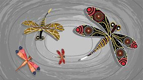 Dragonfly aboriginal art vector painting. Illustration based on aboriginal style of landscape background Royalty Free Stock Images