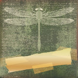 Dragonfly Background. Dragonfly grunge paper background illustration stock illustration