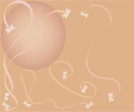 Dragonfly Background. Pink and peach dragonfly and ribbon background Stock Photos