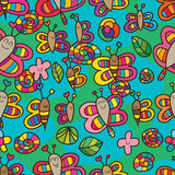 Dragonfly bee butterfly snail happy seamless pattern Royalty Free Stock Photography