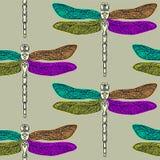 dragonfly bezszwowy deseniowy Obraz Royalty Free