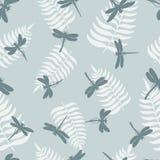 dragonfly bezszwowy deseniowy Tło z dragonflies i liściem paprocie również zwrócić corel ilustracji wektora ilustracja wektor