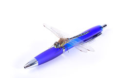 Dragonfly on a blue pen Stock Photography