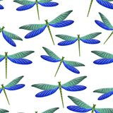 Dragonfly bright seamless pattern. Summer clothes fabric print with flying adder insects. Isolated