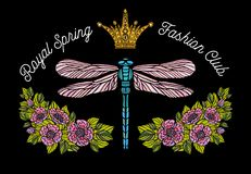 Dragonfly, butterfly, spring, roses Bee crown flowers embroidery Stock Photos