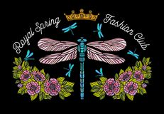 Dragonfly, butterfly, spring, roses Bee crown flowers embroidery Stock Images