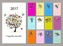 Dragonfly calendar 2017 design Stock Photo
