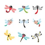 Dragonfly character design. Dragonfly collection stock illustration