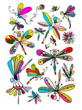 Dragonfly collection, sketch for your design Royalty Free Stock Photography